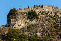 Madonna della Rocca church in Taormina, Sicily, Italy. The Madonna della Rocca church, originated in the 12th century, restored in 1600, stands on a small royalty free stock images