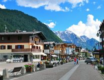 Madonna di Campiglia, Italy. MADONNA DI CAMPIGLIO, ITALY - JULY 11: View of the main pedestrian street in Madonna di Campiglia, Italy on July 11, 2014. Madonna Stock Photos