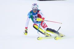 Madonna di Campiglio, Italië 12/22/2018 de slalom van 3de mensen Daniel Yule van Zwitserland tijdens de speciale slalom van skiwe stock afbeeldingen