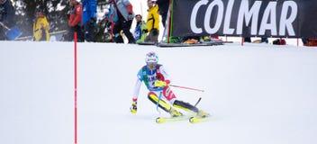 Madonna di Campiglio, Italië 12/22/2018 de slalom van 3de mensen Daniel Yule van Zwitserland tijdens de speciale slalom van skiwe stock foto's