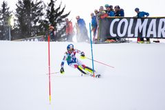 Madonna di Campiglio, Italy 12/22/2018. 3rd men`s slalom. Alexis Pinturault of France during the special slalom of ski world cup stock images
