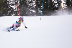 Madonna di Campiglio, Italy 12/22/2018. 3rd men`s slalom. Luca Aerni of Switzerland during the special slalom of ski world cup stock photos