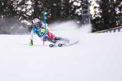 Madonna di Campiglio, Italy 12/22/2018. 3rd men`s slalom. LucaAerni of Switzerland during the special slalom of ski world cup 201 royalty free stock images