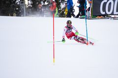 Madonna di Campiglio, Italy 12/22/2018. 3rd men`s slalom. Marcel Hirscher of Austria during the special slalom of ski world cup stock images