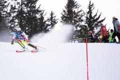 Madonna di Campiglio, Italy 12/22/2018. 3rd men`s slalom. Ramon Zenhaeusern of Switzerland during the special slalom of ski world stock photos