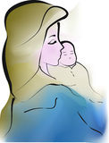 Madonna embracing tenderly Jesus Child Stock Images