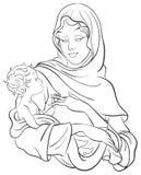 Madonna en baby Jesus. De scène van de geboorte van Christus Stock Afbeelding
