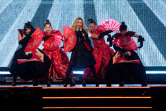 Madonna. Famous pop singer Madonna (in the middle) during her performance in Prague, Czech republic, November 7, 2015 Stock Photo
