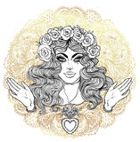 Madonna, Lady of Sorrow. Devotion to the Immaculate Heart of Ble Royalty Free Stock Photo