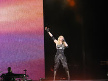 Madonna within the live concert. Madonna on Sticky and Sweet World Tour 2008-2009 Stock Images