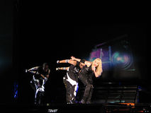 Madonna within the live concert. Madonna on Sticky and Sweet World Tour 2008-2009 Stock Photos