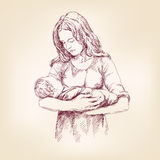 Madonna Mary holding Baby Jesus vector llustration Stock Photo