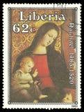 Madonna mit dem Kind umgeben von fünf Heiligen Lizenzfreie Stockfotos