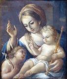 Madonna mit Kind und Johannes der Baptist Stockfotografie