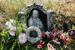 Madonna on the old village Cemetery, Czech Republic Stock Photos