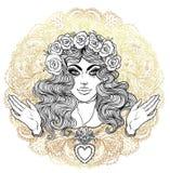 Madonna, señora del dolor Dedicación al corazón inmaculado de Ble stock de ilustración