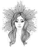 Madonna, señora del dolor Dedicación al corazón inmaculado de la Virgen María bendecida, reina del cielo Ejemplo del vector aisla libre illustration