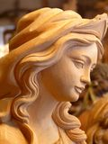 Madonna, Wood, Carved, Figure, Girl Stock Photos