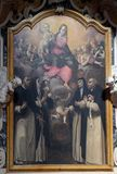 The Madonna worshiped by the St. Dominic, Catherine, Hyacinth, and Blessed Osanna of Mantua. Altarpiece in Mantua Cathedral dedicated to Saint Peter, Mantua Royalty Free Stock Photography