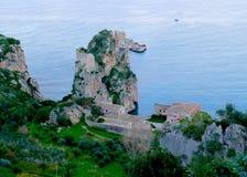 Madrague de Faraglioni e - Scopello, Sicile, Italie photographie stock