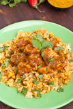 Madras Chicken Curry with Rice Royalty Free Stock Photos
