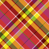Madras colored plaid diagonal fabric texture seamless pattern. Vector illustration Stock Photos