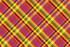 Madras colored plaid diagonal fabric texture seamless pattern. Vector illustration Stock Image