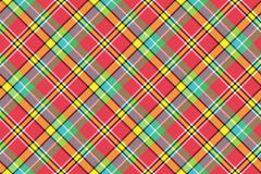 Madras red yellow tartan seamless fabric texture. Vector illustration Royalty Free Stock Photos