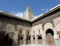 Madrasa Bou Inania på Fez, Marocko Arkivfoto