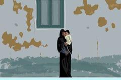 Madre árabe en abaya negro e hijab con poco bebé en sus manos debajo de la pared lamentable, Egipto stock de ilustración