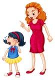 Madre arrabbiata che grida a gridare figlia royalty illustrazione gratis