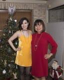 Madre asiática preciosa con la hija de Amerasian que se coloca delante de un árbol de navidad Fotos de archivo