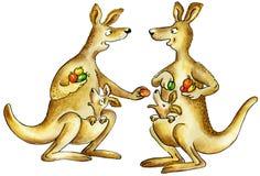 Madre-canguro dos con los cachorros del bebé libre illustration
