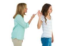 Madre che discute con la sua figlia Fotografia Stock
