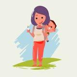 Madre che porta piccolo bambino Progettazione di carattere concetto eccellente del papà Fotografie Stock Libere da Diritti