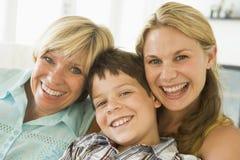 Madre con crecidos la hija y el hijo Fotos de archivo