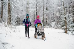 Madre con el cochecito de bebé que disfruta del invierno en bosque, tiempo de la familia fotografía de archivo libre de regalías