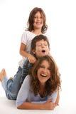 Madre con el hijo y la hija Fotos de archivo