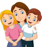 Madre con el hijo y la hija stock de ilustración