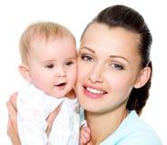 Madre con el niño recién nacido dulce Imagenes de archivo