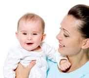 Madre con el niño recién nacido dulce Fotografía de archivo libre de regalías