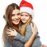 Madre con el retrato de los christmass de la hija Familia feliz Imagen de archivo libre de regalías