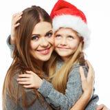 Madre con el retrato de los christmass de la hija Familia feliz Fotos de archivo
