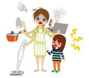 Madre con exceso de trabajo del empleado ilustración del vector