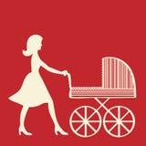 Madre con il carrello di bambino. Fotografia Stock Libera da Diritti