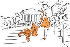 Madre con il carrozzino in arancia e tempio Agrigento, Sicilia Immagini Stock