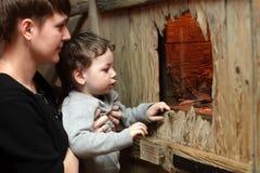 Madre con il figlio allo zoo Fotografia Stock Libera da Diritti
