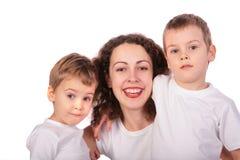 Madre con il primo piano dei fronti dei bambini Fotografie Stock Libere da Diritti