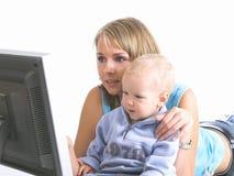 Madre con il ragazzino Fotografia Stock