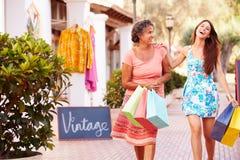 Madre con la figlia adulta sui sacchetti della spesa di trasporto della via Immagini Stock